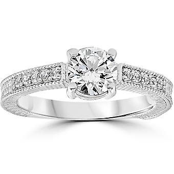 Vintage Diamond Engagement Ring 1 karaat 14K White Gold ronde briljante Cut