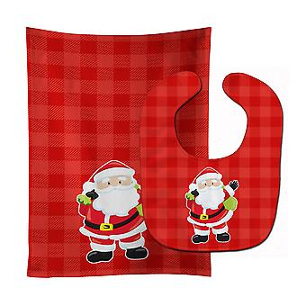 Carolines skarby BB9017STBU Boże Narodzenie Santa Claus #1 Baby Bib & Burp tkanina