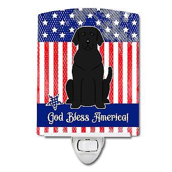 Carolines Treasures  BB3052CNL Patriotic USA Black Labrador Ceramic Night Light
