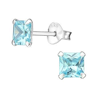 Square - 925 Sterling Silver Classic Ear Studs - W23831X