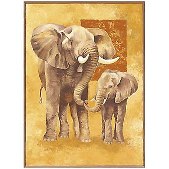 Mother Elephant with Young Poster Print by Philippe Genevrey (24 x 32)