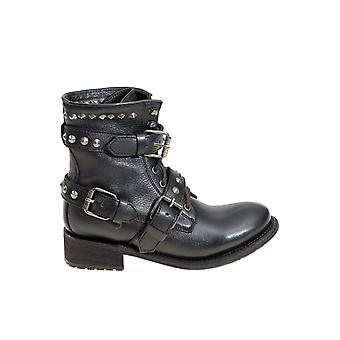 Ash women's ROAD01DESTROYER black leather ankle boots