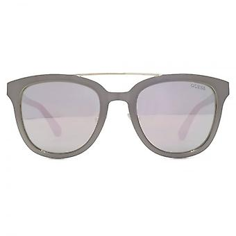 Guess Metal Brow Sunglasses In Shiny Light Nickeltin