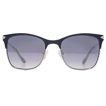 Guess Two Tone Metal Square Sunglasses In Matte Blue Ruthenium