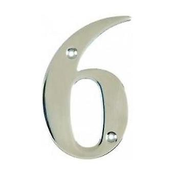 UAP House Door Numerals Numbers - Chrome Number 6