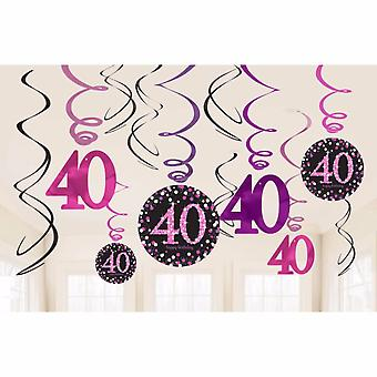 Amscan Sparkling Celebration 40th Birthday Swirl Decorations (Pack of 12)