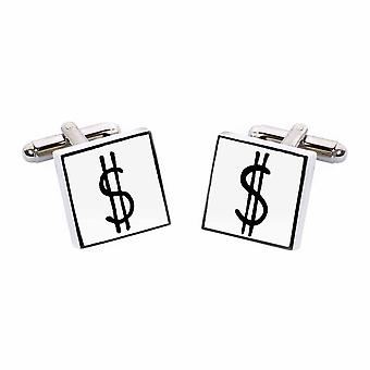 Dollar Sign Cufflinks by Sonia Spencer, in Presentation Gift Box. USD, America