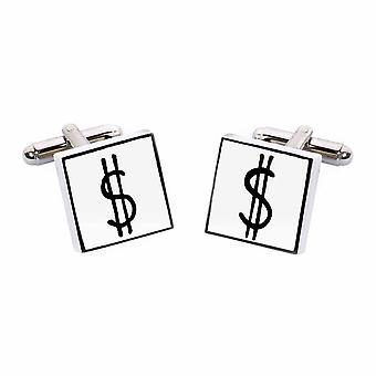 Signo de dólar gemelos por Sonia Spencer, en estuche de presentación. USD, América
