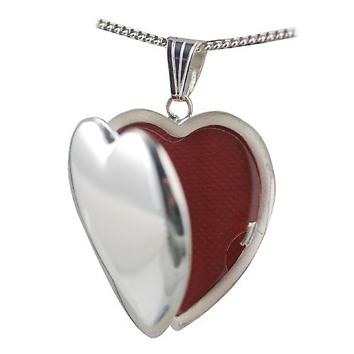 Silver 30x28mm handmade plain heart Locket with Curb chain