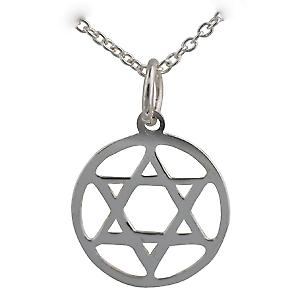 Silver 14mm round Star of David on a Rolo chain