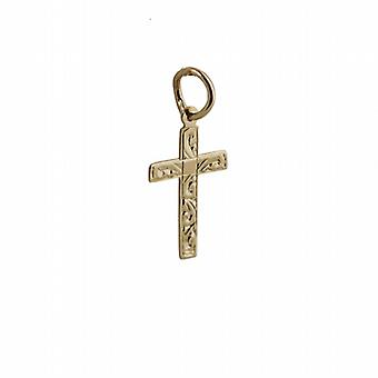 9ct Gold 16x10mm hand engraved flat latin Cross