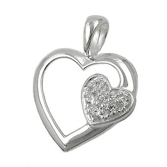 Heart with zirconia 925 silver pendant