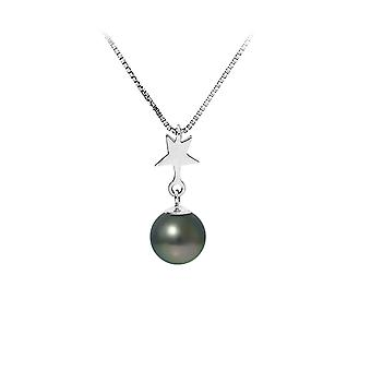 Necklace pendant star Pearl of Tahiti and chain in 925 sterling silver