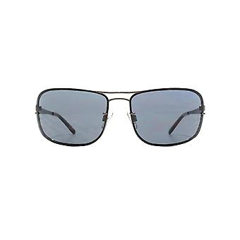 French Connection Metal Sports Wrap Sunglasses In Shiny Dark Gunmetal