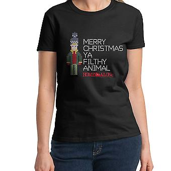 Home Alone Kevin Right Stitch Women's Black T-shirt