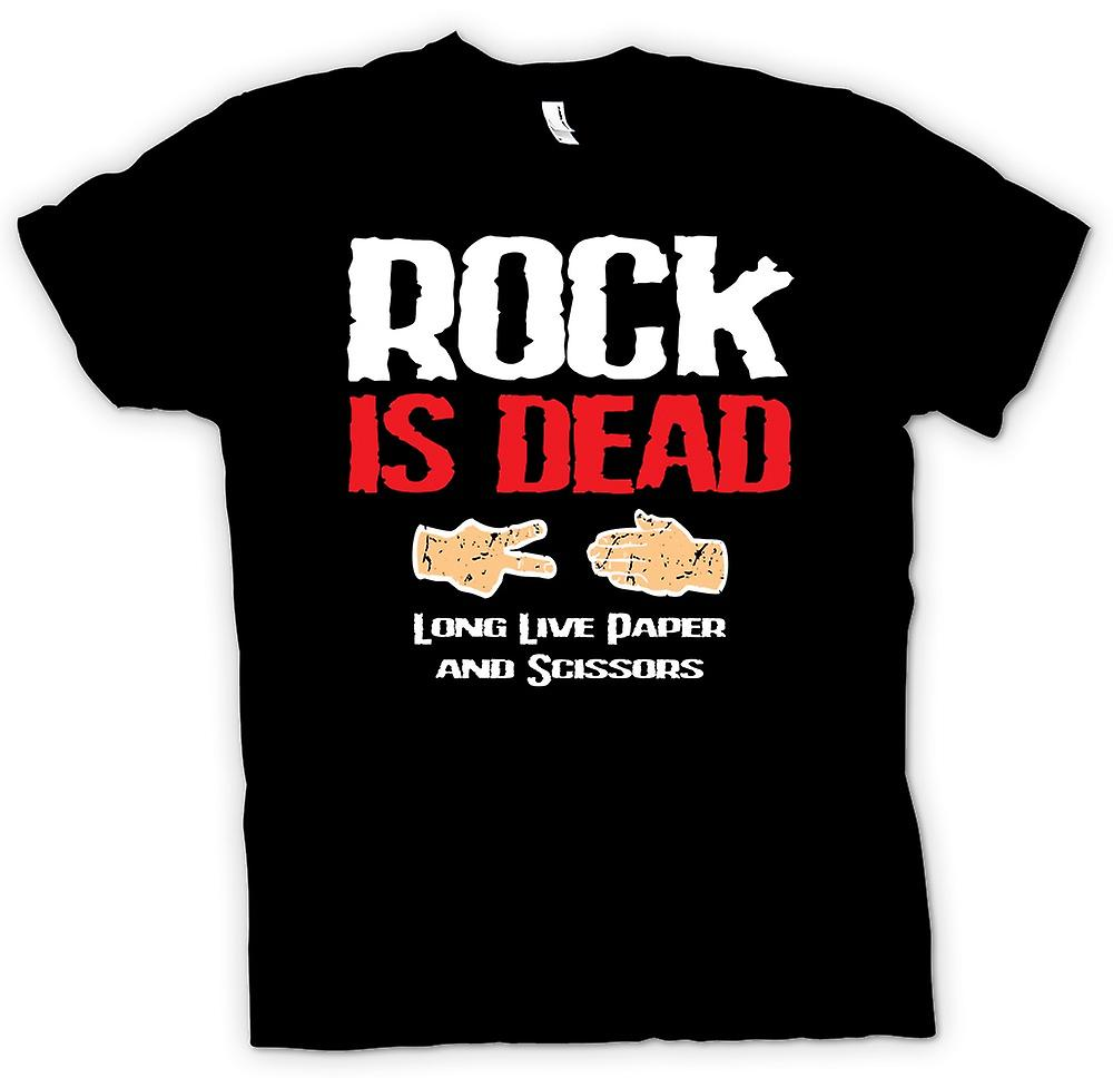 Mens t-shirt - Rock is Dead, Long Live The carta e forbici - Funny