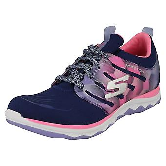 Girls Skechers Casual Lace Up Trainers Diamond Runner 81560 - Navy/Hot Pink Textile - UK Size 9.5 - EU Size 27 - US Size 10.5