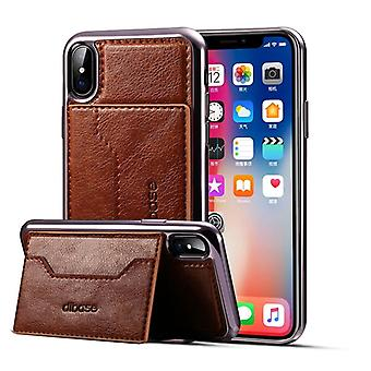 Schutzhülle Cover Case für Apple iPhone X / XS 5.8 Kartenfach Braun