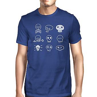 Schedels T-Shirt voor Halloween Mens Blue Graphic Tee korte mouw