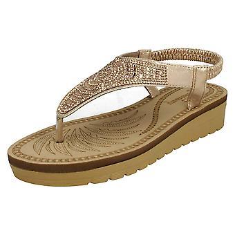 Ladies Savannah Mid Wedge Toepost Sandals F10787