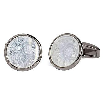 Simon Carter Mother of Pearl Paisley Cufflinks - Grey/White