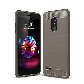 LG K10 (2018 EU) TPU case carbon fiber optics brushed protection cover grey