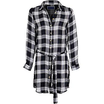 Ladies Adjustable Long Sleeve Check Print Tie Up Belted Long Top Blouse Dress