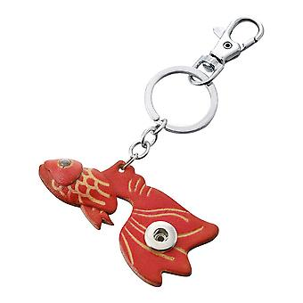 Leather keychain red fish for mini click buttons
