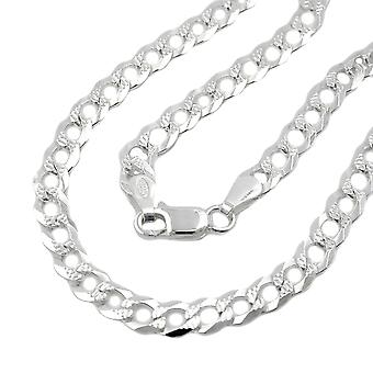 Chain 4, 6mm tank flat with pattern 925 Silver 45cm