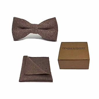 Highland Weave Hessian Brown Men's Bow Tie & Pocket Square Set | Boxed