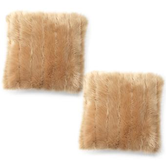 Icon® Luxury Faux Fur Cushion - Champagne, 43cm x 43cm - Decorative Scatter Cushion