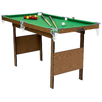 Charles Bentley Kids Junior 4Ft Green Snooker Games Table With Snooker Balls & Yellow Pool Balls Indoor INCLUDES ALL ACCESSORIES