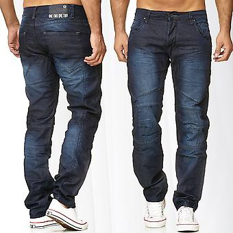 Men's Jeans Coated Pants Waxed Loose Fit Biker Style Trousers Blue Denim Cotton