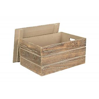 Extra Large Lidded Oak effect Wooden Storage Crate