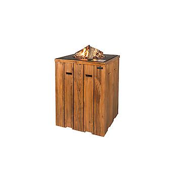 Happy Cocooning teakhouten tuinhaard statafel 76x76xH100 cm - antraciet