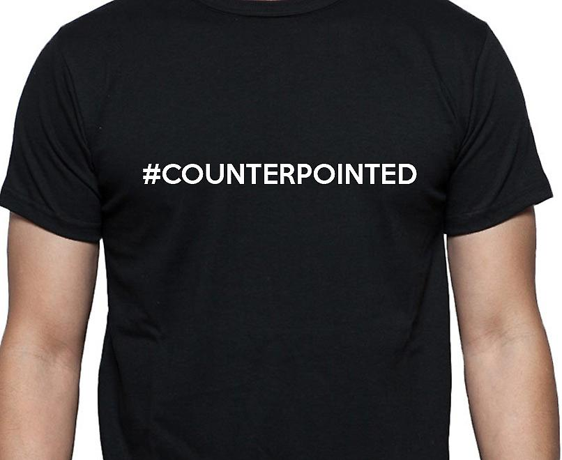 #Counterpointed Hashag Counterpointed Black Hand Printed T shirt