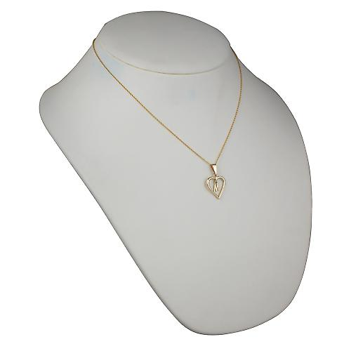 9ct Gold 18x18mm initial M in a heart with Cable link chain