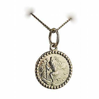 18ct gull 13mm runde St Christopher anheng med en fortauskant kjeden 20 inches bare egnet for barn