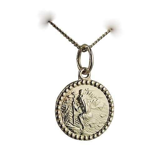 18ct 13mm d'or ronde St Christopher avec Gourmette