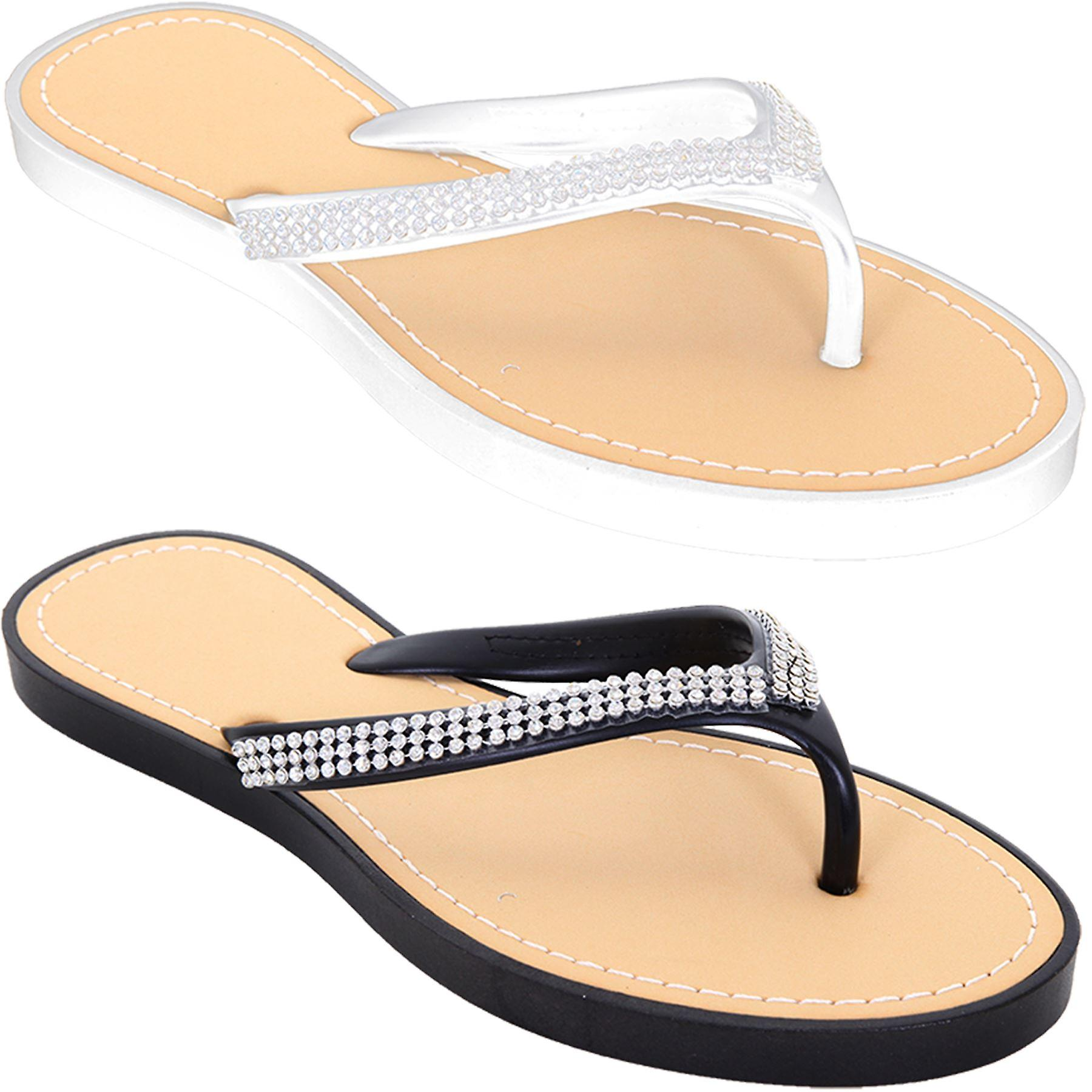 Ladies Comfy Diamante Thong Sandals Women's Casual Summer Flip flop Shoes