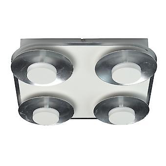 Glasberg - LED Spotlight tak ljus fyra ljus kvadrat i vitt och Silver 452015104