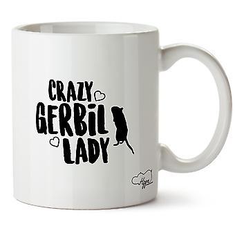 Hippowarehouse Crazy Gerbil Lady Printed Mug Cup Ceramic 10oz