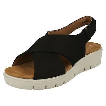 Damer Clarks ustruktureret kile Slingback sandaler FN Karely solen