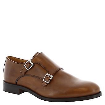 Leonardo skor mans handgjorda tan läder dubbel munksko skor