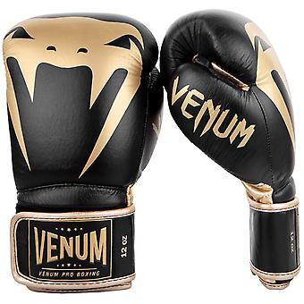 Житомир гигант 2.0 крюк & цикла кожаные про боксерские перчатки - черный/золото