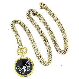 Reflex Butterfly Design Ladies 30 Inch Gold Tone Necklace Pendant Watch PEND29