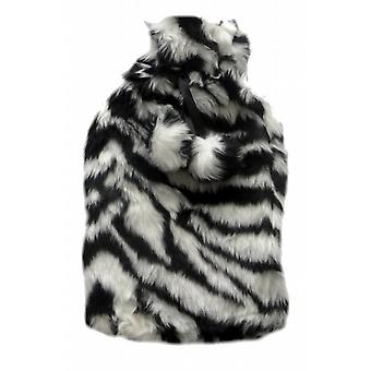 Plush Zebra Skin Faux Fur Pom Pom 2L Hot Water Bottle