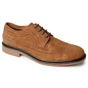 Mens Leather Formal Shoes Suede Brogues Lace Up Smart Casual