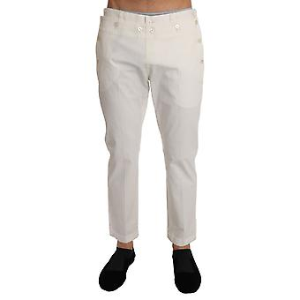 Dolce & Gabbana White Cotton Stretch Casual Trousers Pants -- PAN6477424