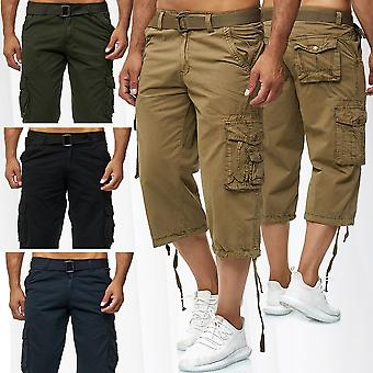 Men's Cargo Shorts Bermuda Bottoms 3/4 Cotton Trousers Casual Outdoor Pants